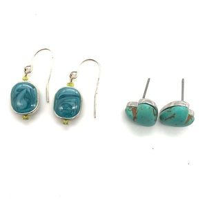 2 Pairs of Earrings Stud Turquoise & Blue Dangle